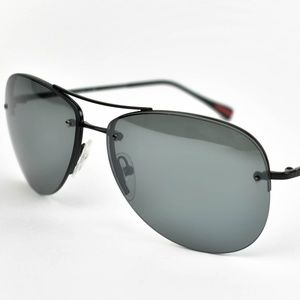PRADA Black Metal & Logo Mirrored Sunglasses (om)